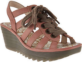 Fly London As Is Leather Multi-strap Lace-up Wedges - Yito