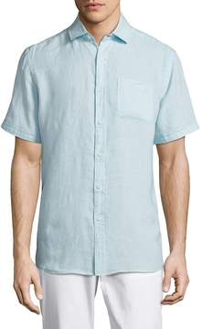 Saks Fifth Avenue BLACK Men's Short Sleeve Linen Shirt