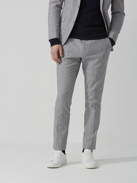 Frank and Oak The Laurier Cotton-Linen Suit Pant in Light Grey