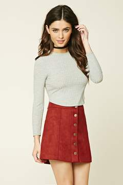 FOREVER 21 Buttoned Faux Suede Skirt