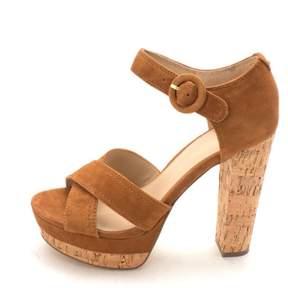 GUESS Womens Parris Suede Open Toe Casual Ankle Strap Sandals Cognac