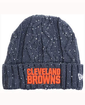 New Era Women's Cleveland Browns Frosted Cable Knit Hat