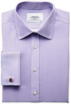 Charles Tyrwhitt Slim Fit Non-Iron Bengal Stripe Lilac Cotton Dress Shirt French Cuff Size 15.5/34