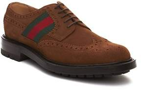 Gucci Men's Suede Web Brogue Shoes Brown.