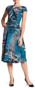 ECI Printed Pique Fit & Flare Dress