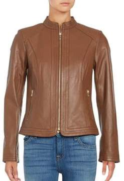 Cole Haan Trapunto Paneled Nappa Leather Jacket