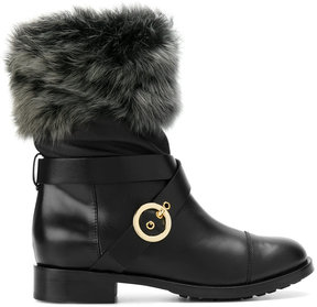 Pollini fox fur lined buckle boots