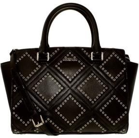 Michael Kors Diamond Grommet Selma Leather Top-Handle Satchel - BLACK - STYLE