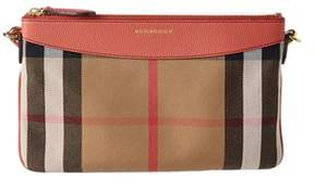 Burberry House Check & Leather Clutch Bag. - RED - STYLE