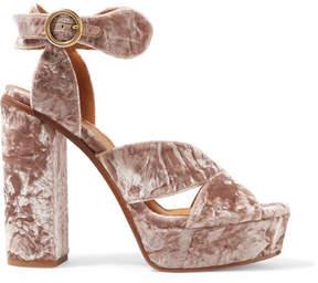 Chloé Graphic Leaves Crushed-velvet Platform Sandals - Antique rose