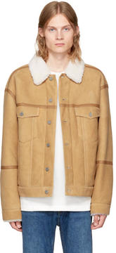 Alexander Wang Khaki Shearling Denim Jacket