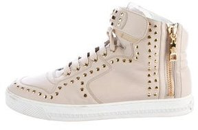 Versace Studded High-Top Sneakers