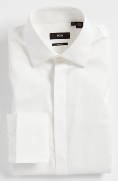 BOSS Men's 'Marlyn' Sharp Fit Stripe French Cuff Tuxedo Shirt