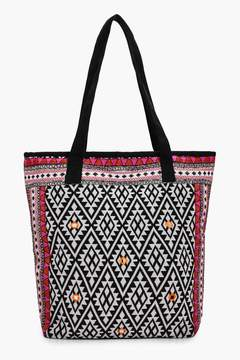 boohoo Lacey Embroidered Edge Aztec Beach Bag