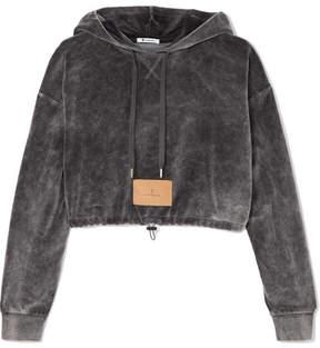 Alexander Wang Cropped Cotton-blend Velour Hooded Top - Dark gray