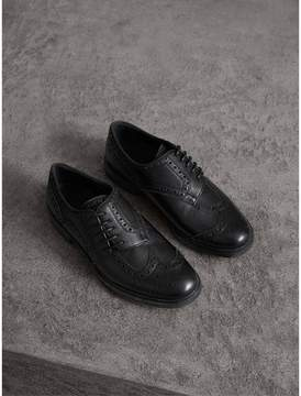 Burberry Lace-up Brogue Detail Textured Leather Asymmetric Shoes