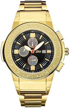 JBW Saxon Black Dial 18K Yellow Gold-Plated Stainless Steel Diamond Men's Watch