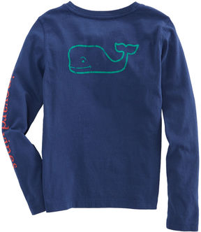 Vineyard Vines Girls Long-Sleeve Contrast Vintage Whale Pocket Tee