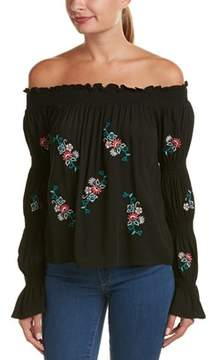 Flying Tomato Embroidered Off-the-shoulder Top.