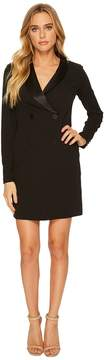 Donna Morgan Long Sleeve Crepe and Satin Tuxedo Dress Women's Dress
