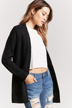 Forever 21 Longline Ribbed Open-Front Cardigan