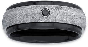Black Diamond MODERN BRIDE Mens Color Enhanced Accent Stainless Steel & Ceramic Wedding Band
