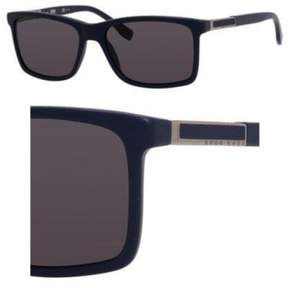 HUGO BOSS BOSS by Men's B0704PS Polarized Rectangular Sunglasses, Blue Ruthenium & Smoke Polarized, 57 mm