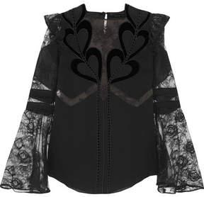Elie Saab Ruffled Chiffon, Lace And Velvet Blouse - Black