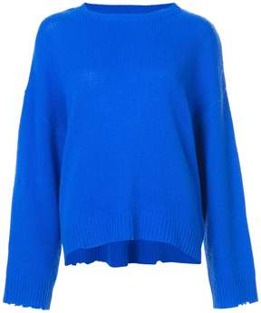 RtA Blue Cashmere Distressed Detail Sweater