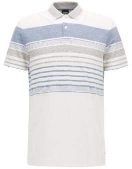 BOSS Hugo Cotton Linen Polo Shirt, Relaxed Fit Pilak M Natural