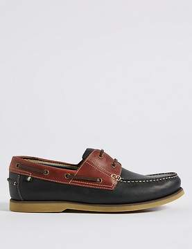 Marks and Spencer Extra Wide Fit Leather Lace-up Boat Shoes