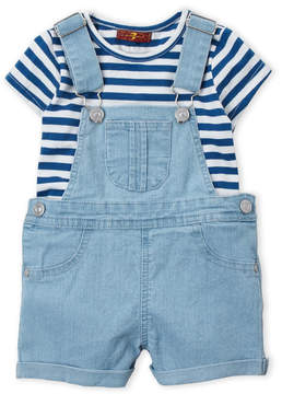 7 For All Mankind Toddler Girls) Two-Piece Stripe Tee & Denim Overalls Set