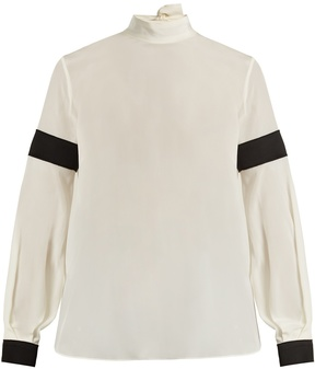 Amanda Wakeley High-neck bi-colour silk crepe de Chine blouse