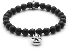 King Baby Studio Men's Silver Star & 8MM Onyx Beaded Charm Bracelet