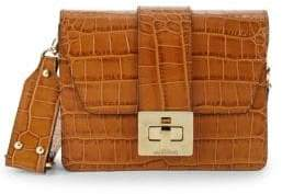 Mario Valentino Crocodile Embossed Leather Shoulder Bag