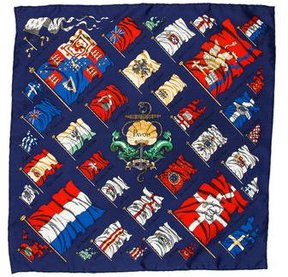 Hermes Pavois Silk Pocket Square