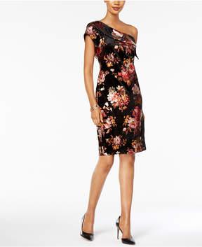 ECI Velvet One-Shoulder Sheath Dress