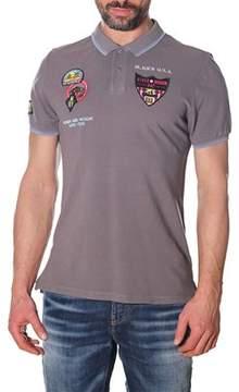 Blauer Men's Grey Cotton Polo Shirt.