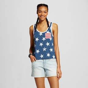 Fifth Sun Women's Stars and Striped Pocket Graphic Tank Navy Juniors')