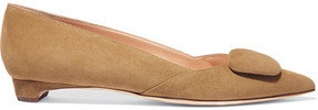 Rupert Sanderson Suede Point-toe Flats - Tan