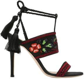 Alberta Ferretti 110mm Embroidered Satin Sandals