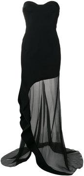 Esteban Cortazar strapless asymmetric ruffle dress