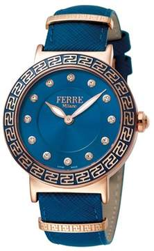 Ferré Milano Women's Swiss Made Swiss Quartz Dark Blue Leather Strap Watch.