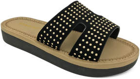 Bamboo Black Upraise Studded Slide - Women