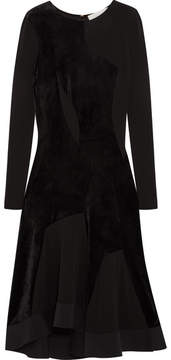 Esteban Cortazar Full Circle Stretch Knit-paneled Velvet Dress - Black
