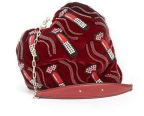 Valentino Carry Secrets bead-embellished heart velvet clutch