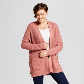Almost Famous Women's Shaker Stitch Lace up Side Cardigan Juniors')