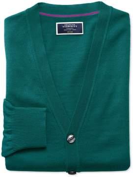 Charles Tyrwhitt Teal Merino Wool Cardigan Size XL