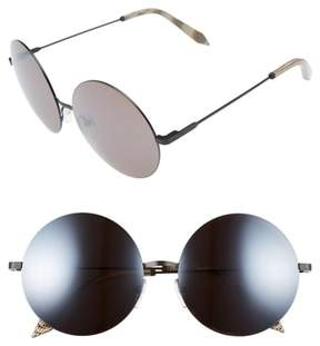 Victoria Beckham Women's Feather 58Mm Round Sunglasses - Black/ Caviar Mirror