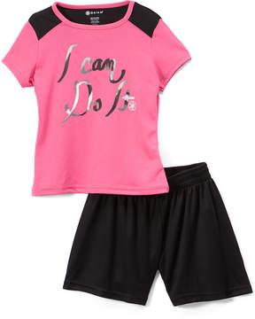 Gaiam Pink 'I Can Do It' Tee & Black Mesh Shorts - Girls